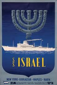 العسّاس | تصميم بوستر لشركة تسيم الإسرائيلية القومية للنقل البحري، يظهر فيه رمز الشمعدان وراء السفينة.